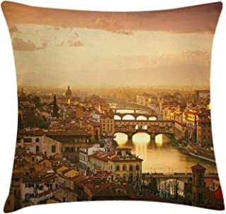 Ambesonne Wanderlust Throw Pillow Cushion Cover, Bridge Ponte Vecchio Italy Bird Eye Sunset View Castle Houses Historic Cityscape, Decorative Square Accent Pillow Case, 20 X 20 inches, Sand Brown