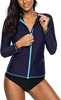 ATTRACO Women's Rashguard Swimsuit Zip Front Sun Protection Shirt Solid Navy L