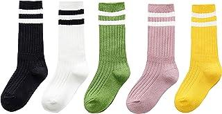 Jelord, Calcetines de Algodón para Niños Niñas Paquete de 5 Pares Rayas con Calcetines Cortos Deporte Veraño/Invierno 1-9 años