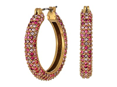 J.Crew Illy Pave Hoop Earrings (Bright Berry) Earring