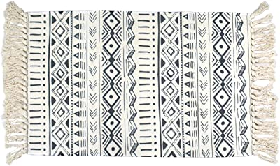 USTIDE Boho Bathroom Rug with Tassel, Moroccan Cotton Rugs 2x3 Washable,Natural Woven Farmhouse Entry Runner, Outdoor Layered Doormat Braided Rag Rug (Gray & White)
