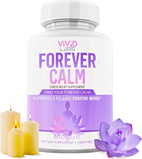 Forever Calm Natural Happy Pills - 10x Anti Anxiety Relief & Depression Supplement | Dopamine Mood Boost, Serotonin Support, Relieve Stress, Relaxation Enhancer - Best PMS Medication for Women 60 Cap