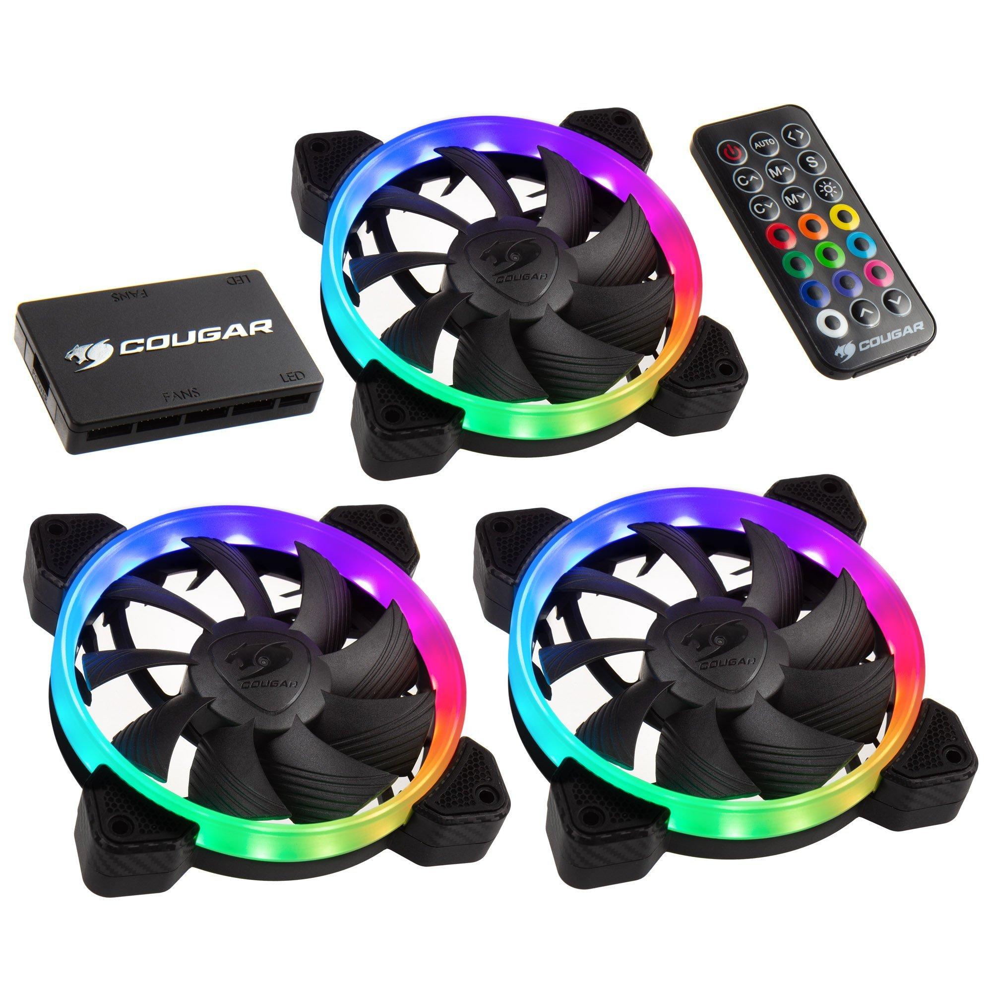 Cougar - Kit de refrigeración HPB RGB con 3 Ventiladores + Caja Core LED + Mando a Distancia: Amazon.es: Informática