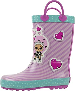 L.O.L Surprise! Girls Rainboots, Fancy and Fresh, 100% Rubber, Waterproof with Easy-on Handles, Ages 2 to 10