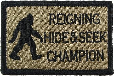 REIGNING HIDE/&SEEK CHAMPION COMBAT MORALE MILITARY DARK PATCH OPS HOOK BADGE