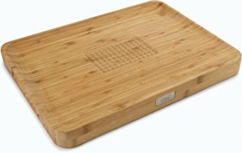 Joseph Joseph Cut & Carve Bamboo Cutting Board with Food Grip and Angled Surface