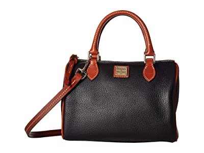 Dooney & Bourke Pebble Trudy Satchel (Black/Tan Trim) Handbags
