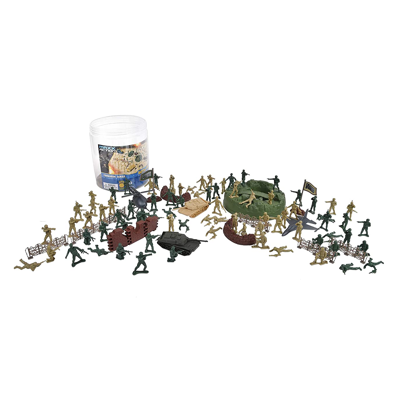 Elite Force 100-Pieced Military Soldier Battle Group Army Man Play Bucket Playset with Tanks, Trucks, Helicopters, Border Walls, Fences, Soldiers and Other Battlefield Equipment