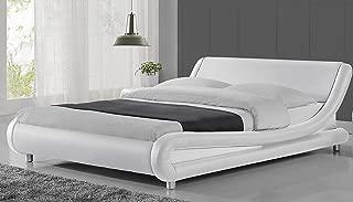 Urest Queen Size Bed Frame Faux Leather Modern Platform Bed/Mattress Foundation/Strong Wood Slat Support/White