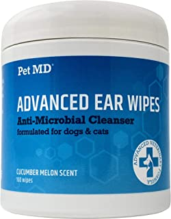 Pet MD Cat and Dog Ear Cleaner Wipes - Advanced Otic Veterinary Ear Cleaner Formula - Dog Ear Infection Treatment Eliminates Yeast and Bacteria - 100 Alcohol Free Ear Wipes with Soothing Aloe Vera