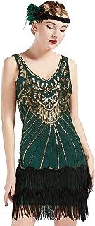 Women's Flapper Dresses 1920s V Neck Beaded Fringed Dress Great Gatsby Dress