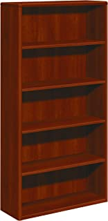 HON 10700 Series Wood Bookcase, Five Shelf, 36w x 13 1/8d x 71h, Cognac