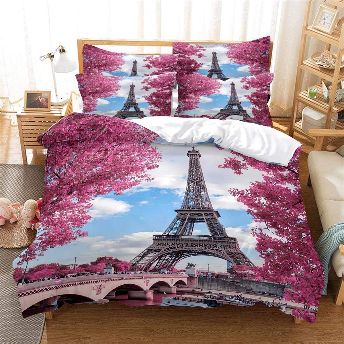 MANXI Large-scale sale Paris Ranking TOP14 City Comforter Cover Print Set Eiffel Tower Bedding