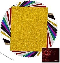 "YRYM HT Glitter Heat Transfer Vinyl Bundle - 18 Pack 12""x 10"" Glitter HTV Vinyl Sheets with 11 Assorted Colors for Cricut..."