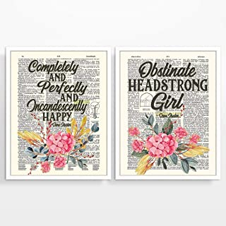Jane Austen Set of 2 Quote Art Prints, Vintage Highlighted Dictionary Page Floral Wall Art Decor Poster Sign, 8x10 Inches