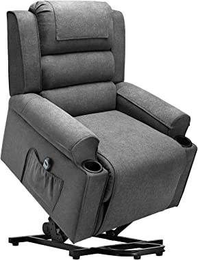 Waleaf Electric Recliner Chair for Elderly, Power Lift Chair with Side Pocket, Linen Fabric Single Sofa with 2 Cup Holders, R
