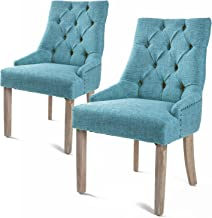 La Bella 2X French Provincial Oak Leg Chair Amour - Blue