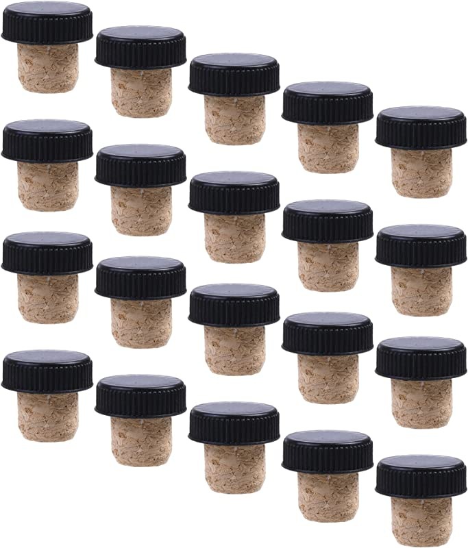 COSMOS Pack Of 20 Black Plastic Top Tasting Corks
