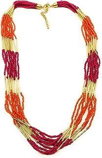 Dca Orange, Fuschia Glass Necklace for Women (4450)