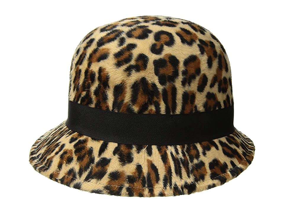 Women's Vintage Hats | Old Fashioned Hats | Retro Hats San Diego Hat Company CTH8118 Faux Wool Felt Cloche with Grosgrain Bow Leopard Caps $38.50 AT vintagedancer.com