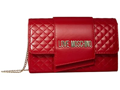 LOVE Moschino Logo Quilted Bag (Red Quilted Soft PU) Handbags