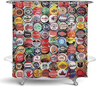 NiYoung Bathroom Shower Curtain with 12 Hooks - Bath Curtain Durable Waterproof Fabric Bathroom Curtain (World Beer Bottle caps Set,72 × 70 inches)