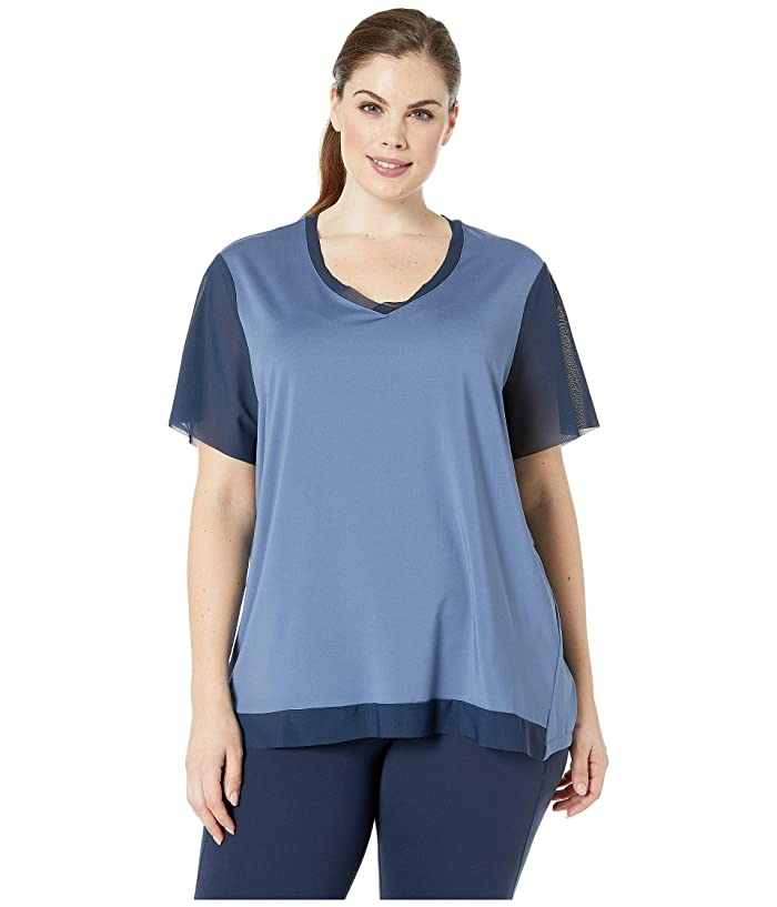 SHAPE Activewear Plus Size Away Tee (Bijou/Navy) Women