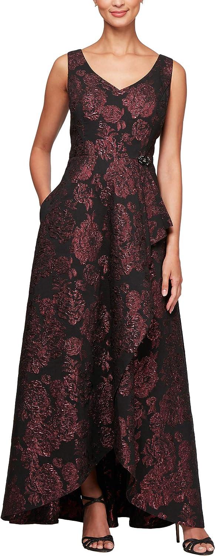 Alex Evenings Womens VNeck Ball Gown with Cascade Overlay Skirt Dress Special Occasion Dress