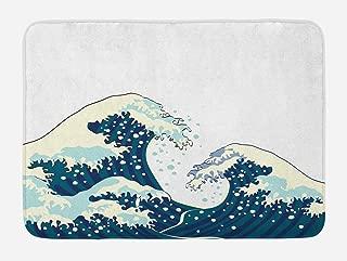 Ambesonne Waves Bath Mat, Japanese Kanagawa Illustration Nautical Ocean Surfing Theme Aquatic Pattern, Plush Bathroom Decor Mat with Non Slip Backing, 29.5
