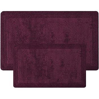 100/% Cotton 21 x 34 Set of 2 Bath Rugs Truffle 17 x 24 Bathroom Rugs Set Queenzliving Bathmat Trellis Collection