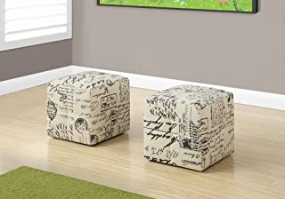 Monarch 2 Piece French Script Print Ottoman, Off-White/Black