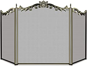 Large Floral Fireplace Screen 3 Panel Bronze Wrought Iron Metal Decorative Mesh Fire Place Standing Gate Solid Baby Safe Proof Fence Steel Spark Guard Cover Outdoor Fireplace Tools Accessories 31