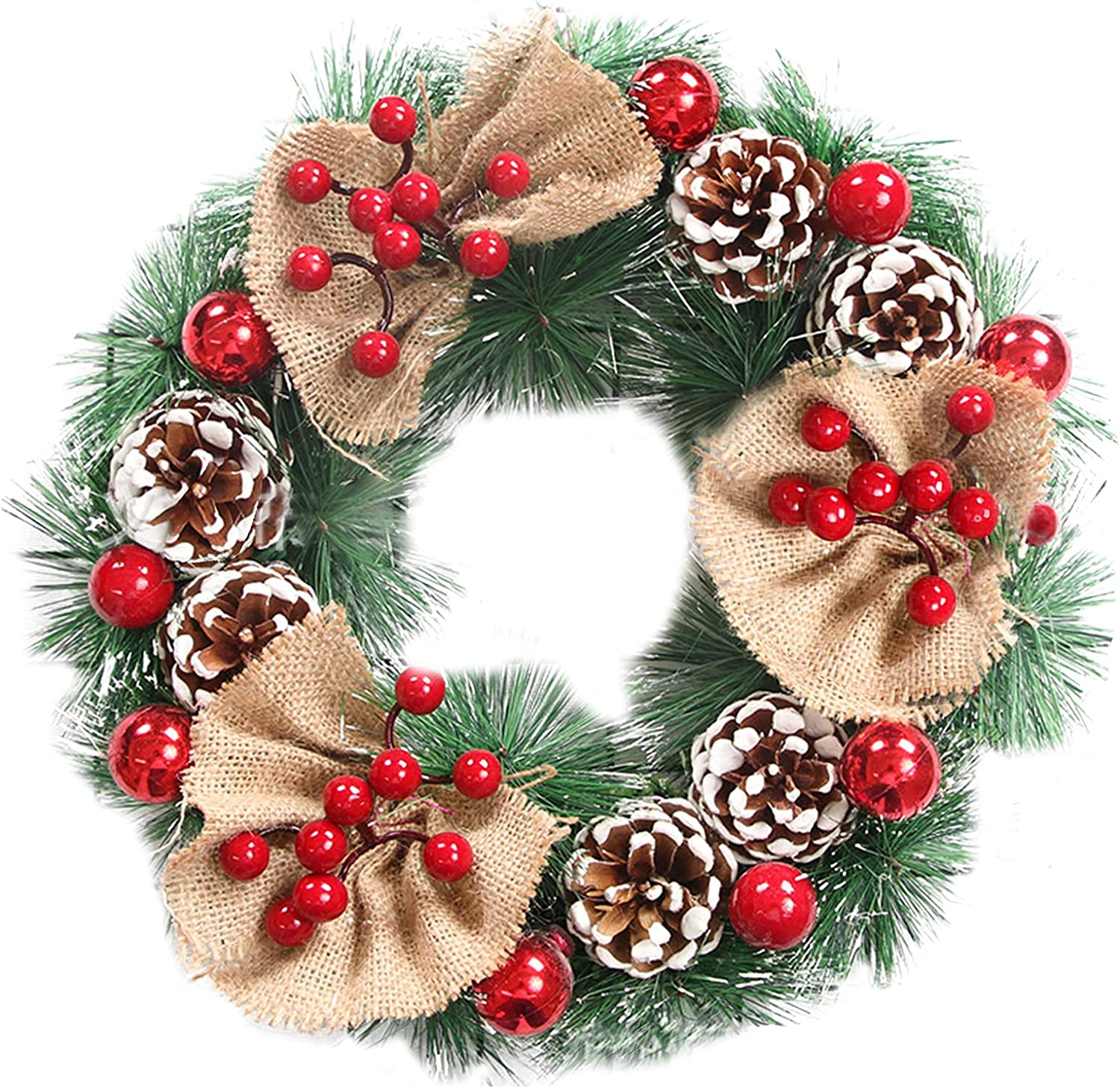 LUKETURE Max 44% OFF Christmas Wreaths for New popularity Front 12 Inches Artificial Door