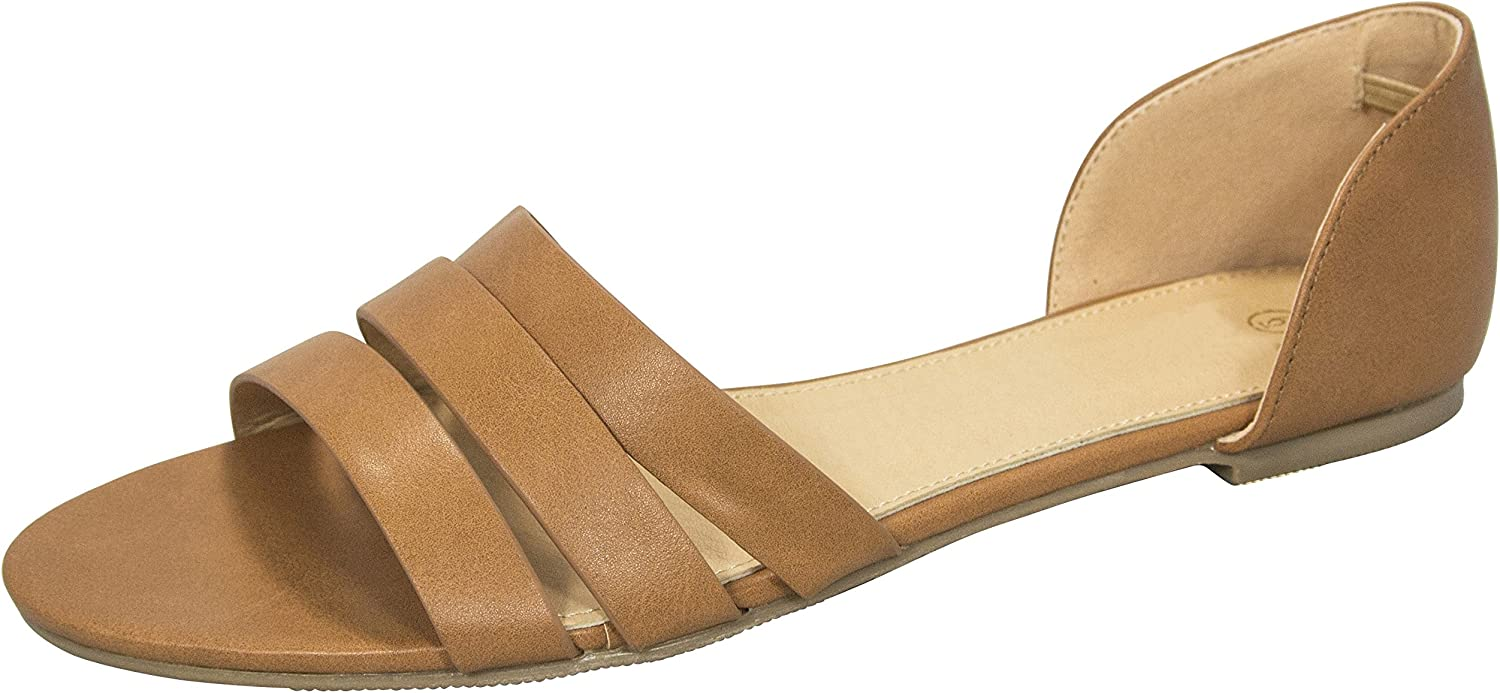 Cambridge Select Women's Casual Triple Strap Cut Out Comfort Slip-On Flat Sandal