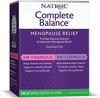 Natrol Complete Balance A.M./P.M. Capsules for Menopause Relief, Helps Relieve Hot Flashes and Night Sweats, Complete Day ...