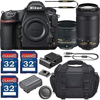 Nikon D850 DSLR Camera with AF-S NIKKOR 50mm f/1.8G Lens & 70-300mm ED Lens + 3 Memory Card Bundle