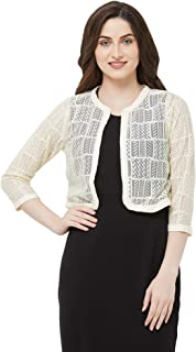 109 F Women's Polyester Off White Lace Shrug