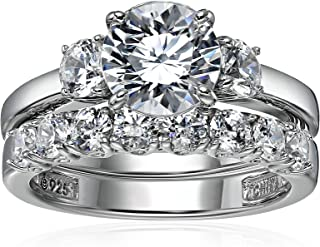 Platinum-Plated Sterling Silver Swarovski Zirconia Round-Cut Three-Stone Ring Set