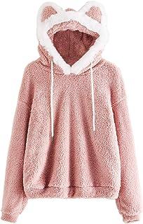 SweatyRocks Women's Hooded Sweatshirts Teddy Cute Ear Long Sleeve Pullover Shirt Blouse