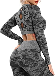 SEASUM Workout Crop Tops for Women Long Sleeves Gym Shirts