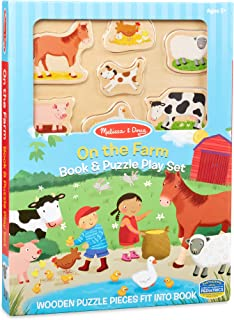Melissa & Doug On The Farm Book and Wooden 7-Piece Puzzle Play Set