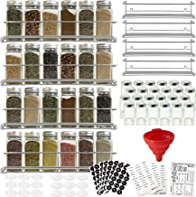 4 Spice Racks with 24 Glass Spice Jar & 2 Types of Printed Spice Labels by Talented Kitchen. Complete Set: 4 Wall Mount St...