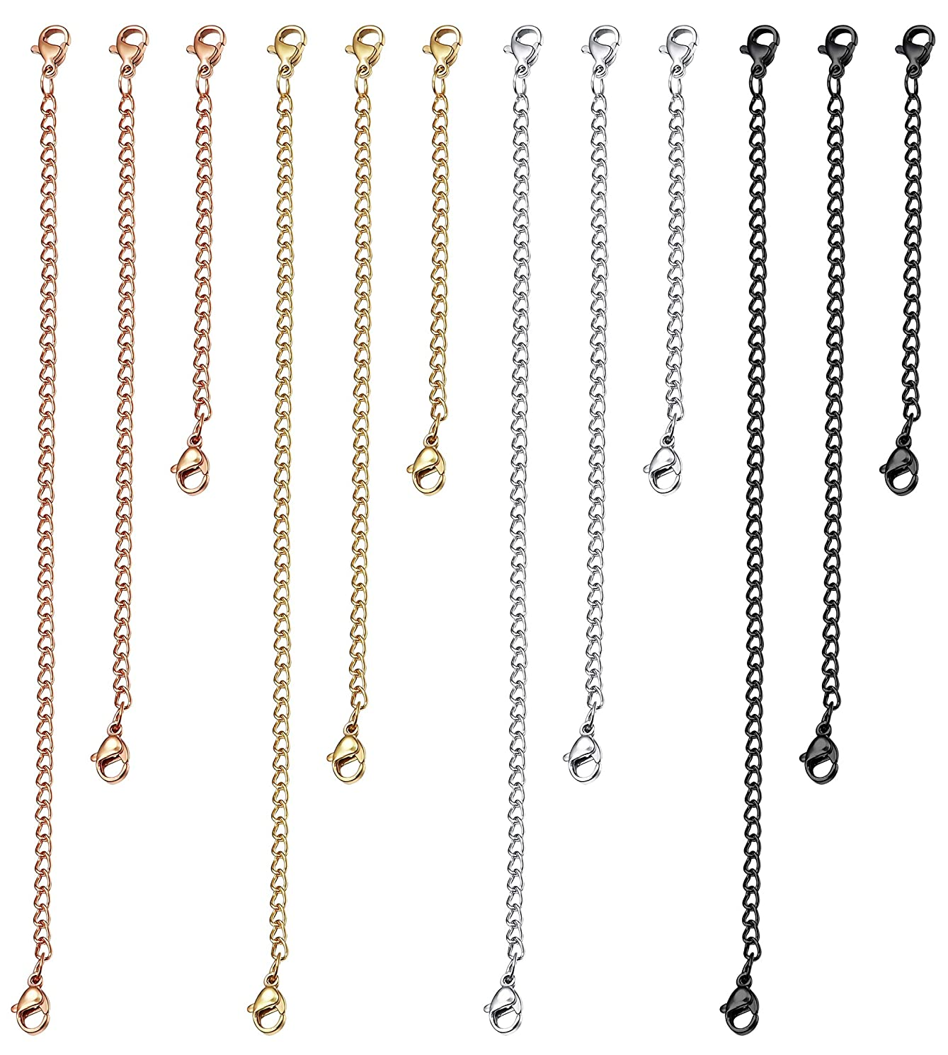 ORAZIO 5-10Pcs Stainless Steel Necklace Bracelet Extender Chain Set,2