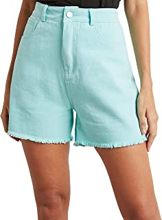 Frayed Edge Denim Shorts with Pocket Detail For Women Closet by Styli