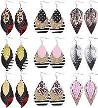 SHIWE 9 Pairs Layered leather Earrings for Women Lightweight Handmade Faux Leather Earrings Glitter Dangling Leaf Drop Earrings Set