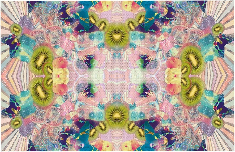 KESS InHouse DP1010ADM02 Danii Pollehn LSD Pink Green Dog Place Mat, 24  x 15