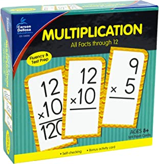 Carson Dellosa - Multiplication Flash Cards All Factors 0 to 12 - 169 Cards over 150 Problems for 2nd to 4th Grade Math, Ages 7+ with Bonus Game Card