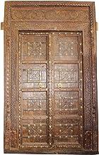 Mogul Interior Antique Huge Indian Carved Door Teak Wood Solid Wooden Door & Frame Brass Iron Beautiful Design