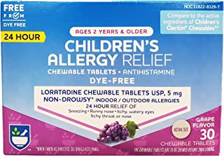 Rite Aid Children's Non-Drowsy Allergy Relief Chewable Tablets, Grape Flavor, Loratadine, 5 mg - 30 Count | Children's All...