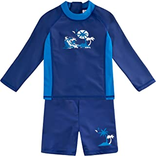 Landora®: baby / children's swimwear long sleeves, set of 2 with UV protection 50+ and Oeko-Tex 100 certification in blue